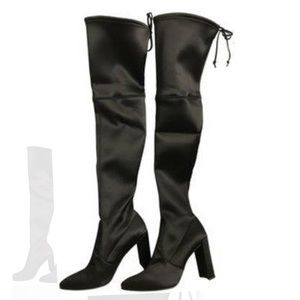 Stuart Weitzman Satin Black Over the Knee Size 8.5